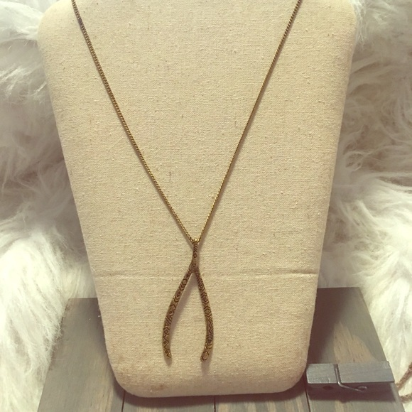 Gold longchain Wishbone Necklace